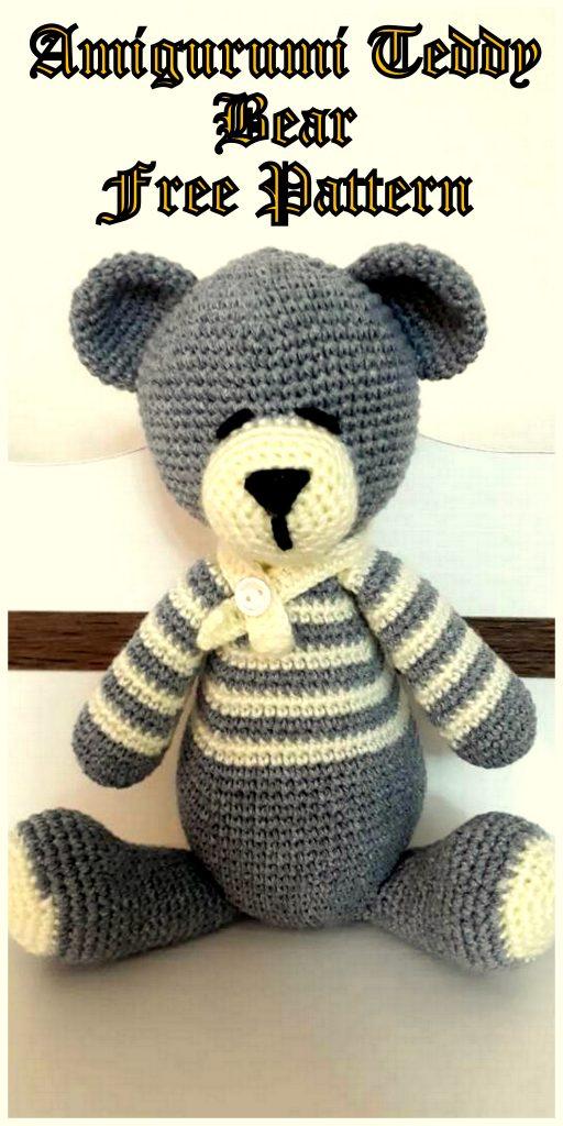 Amigurumi  Cute Teddy bear in striped sweater free crochet pattern
