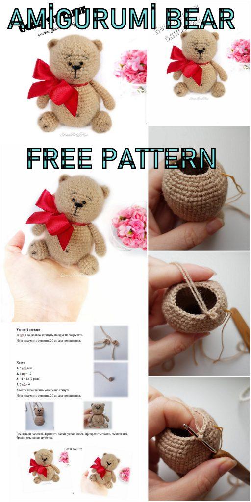 Free Crochet pattern - Ballerina bear appliqué - Natalina Craft   1024x512